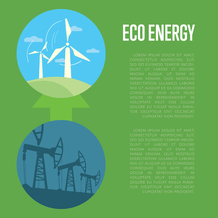 industrial machine: Vector illustration of evolution from industrial pollution to eco energy. Wind turbines in green field. Industrial machine for petroleum. Green ecology infographics template with space for text