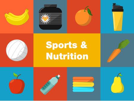 Sports and nutrition vector illustration icons set. Protein shaker, nutrition container, ball, fruit, sports bottle, towels on color background. Athletic equipment. Fitness supplements. Illustration