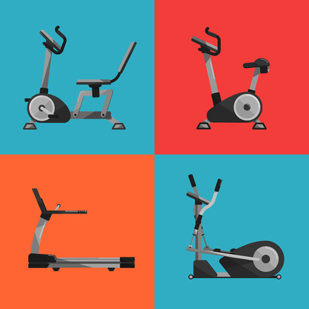 Vector illustration of gym sports equipment icons set. Treadmill, elliptical cross trainer, exercise bikes on color background. Cardio running exercise. Active sport lifestyle.