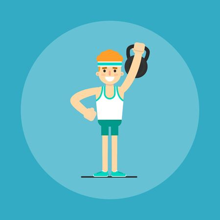 Athletic young man with weight doing exercises, vector illustration in flat style. Healthy lifestyle. Fitness people. Workout and gymnastics. Cartoon character isolated on blue background.