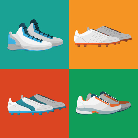 sportwear: Sport shoes icons vector illustration set. Various sneakers for different sports on color background. Athletic equipment. Sportwear symbols