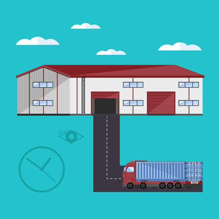 docks: Warehouse exterior with container truck flat vector illustration