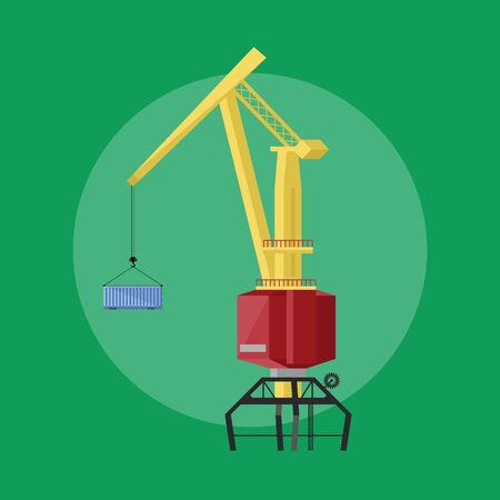 dockside: Dockside crane isolated vector icon flat design style Illustration