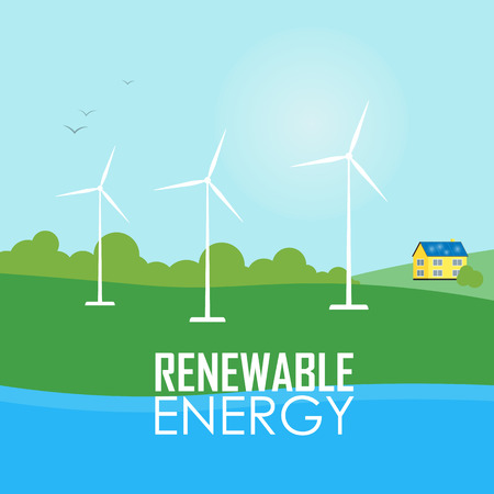 Renewable energy vector illustration. White wind generator turbines on river bank. House with blue solar panels on the roof. Modern alternative energy generation. Ecological types of electricity Illustration