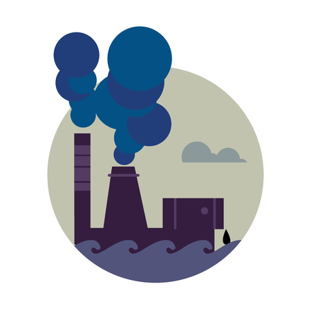 smokestack: Air pollution banner, vector illustration. Air pollution by smoke coming out of two factory chimneys. Environmental problems. Smoking factory concept. Heavy industry plant. Smokestack icon