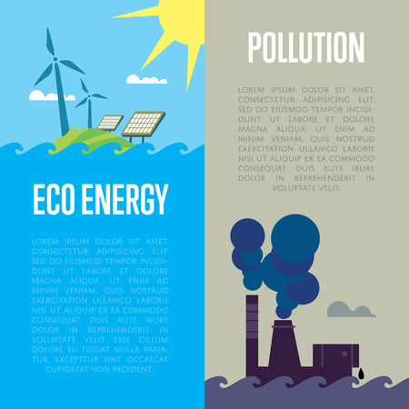 eco energy: Eco energy and air pollution vector illustration set. From pipe factory smoke, polluting atmosphere. Solar panels and wind turbines in natural landscape. Traditional and alternative electricity source