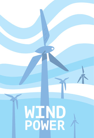 windfarm: Wind power vector illustration. Blue wind turbines on background of light blue wavy sky. Windfarm poster. Renewable resources concept. Windmills for electric power production. Eco technologies banner. Illustration