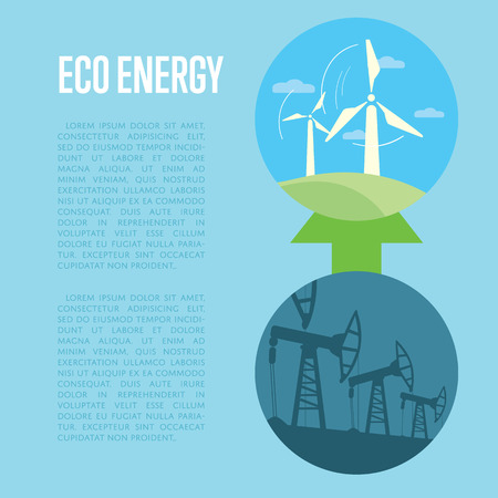 space industry: Vector illustration of evolution from industrial pollution to eco energy. Wind turbines in green field. Oil industry equipment. Blue ecology infographics template with space for text. Illustration
