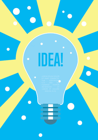 idea generation: Idea concept. Abstract vector illustration with light bulb on yellow and blue background. Creative thinking. Idea generation.