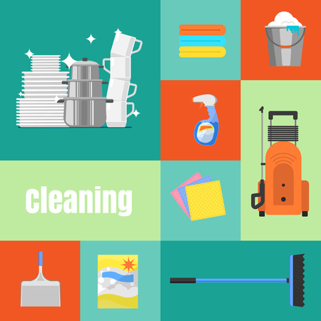 washing windows: Cleaning tools icon set flat vector illustration