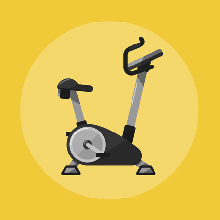 Vector illustration of gym sports equipment icon. Exercise bike isolated on yellow background. Active sport lifestyle. Stationary training bicycle good for exercise at home or gym Çizim