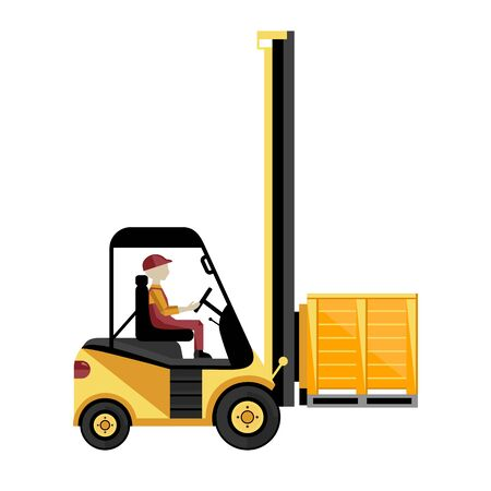 storehouse: Forklift truck with boxes on pallet isolated on white background vector illustration