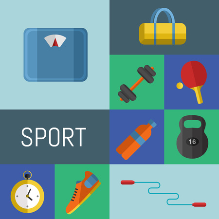 weigher: Vector illustration of gym sports equipment icons set. Skipping rope, weight, bag, sports shoes, ping pong paddle, bottle, dumbbell, stopwatch and weigher on color background. Different sport tools. Illustration