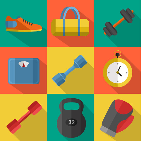 weigher: Vector illustration of gym sports equipment icons set. Boxing gloves, weight, bag, sports shoes, dumbbell, stopwatch and weigher on color background. Flat signs with long shadow Illustration
