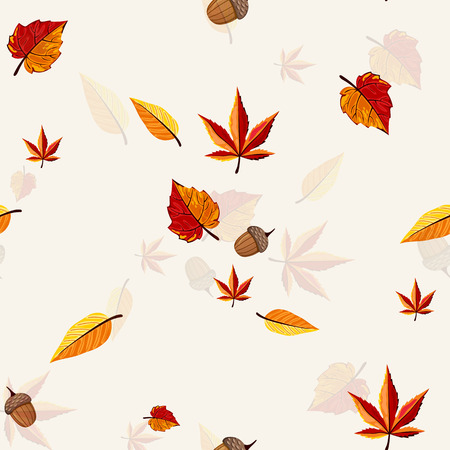 Autumn vector seamless pattern. Hand draw autumn leaves background.