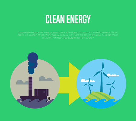 Vector illustration of evolution from industrial pollution to clean energy. Greening of the world banner. From heavy industry to save technology. Development green technology. Eco power concept Illustration