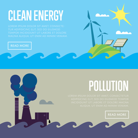alternative energy sources: Clean energy and air pollution vector illustration set. Pollution by smoke coming out of factory chimneys. Solar panels and wind turbines under blue sky. Traditional and alternative sources Illustration