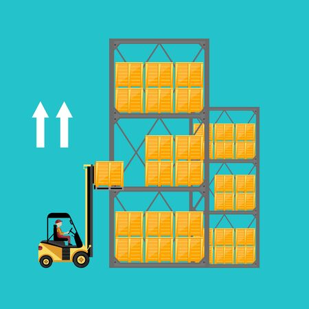 fork lifts trucks: Forklift truck with boxes on pallet isolated vector illustration. Warehouse process concept. Illustration