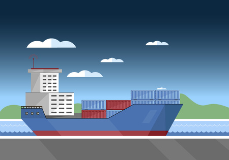 bulk carrier: Cargo vessel with container isolated flat vector illustration Illustration
