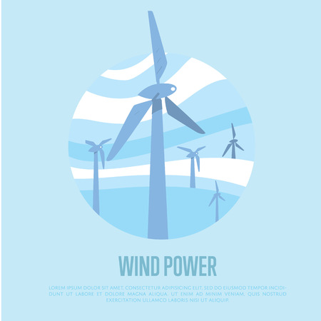 windfarm: Wind power vector illustration. Blue wind turbines on background of light blue wavy sky. Windfarm poster. Windmills for electric power production. Eco generation. Renewable resources concept. Illustration
