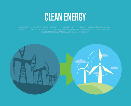 industrial machine: Vector illustration of evolution from industrial pollution to clean energy. Wind turbines in green field. Industrial machine for petroleum. Greening of the world banner. Development eco technology Illustration