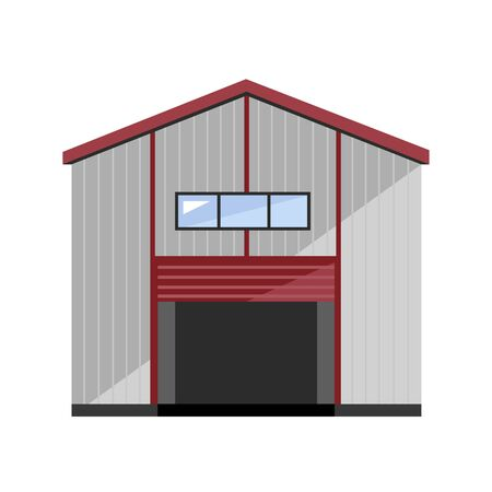 building trade: Warehouse exterior isolated on white background flat vector illustration Illustration