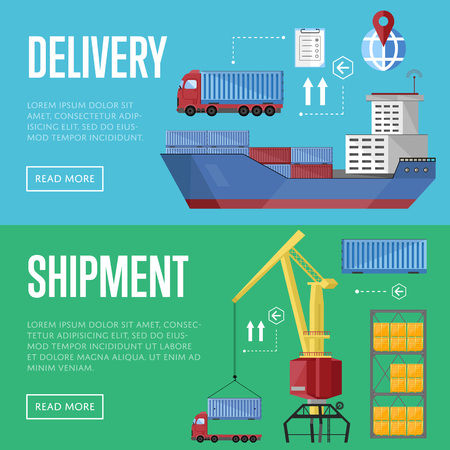 port: Sea port design concept set with container cargo and shipment flat design vector illustration. Cargo ship. Logistics and transportation infographic elements.