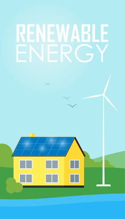 Renewable Energy Vector Illustration. House With Blue Solar Panels On The  Roof. Wind Generator