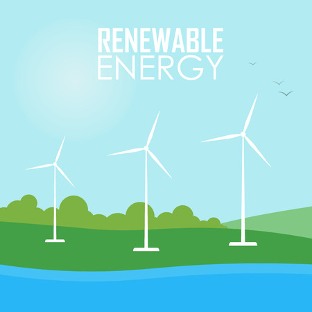 windmills: Renewable energy vector illustration. Three white wind generator turbines on river bank. Wind power concept. Windmills for electric power production. Modern alternative energy generation.