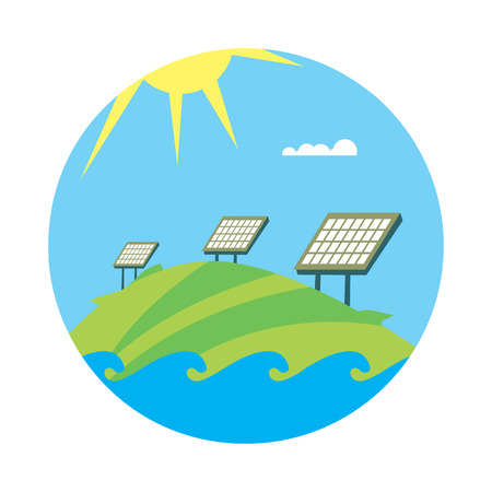 renewable resources: Clean energy, round vector illustration. Solar panels in field under the sun and blue sky. Ecological types of electricity. Natural landscape. Eco generation. Renewable resources concept.