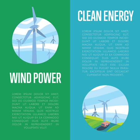 production of energy: Clean energy and wind power vertical banners, vector illustration. Wind turbines in green field on background of blue wavy sky. Production energy from wind. Eco generation. Renewable resources. Illustration