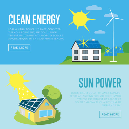 panels: Clean energy and sun power horizontal banners, vector illustration. Eco house in green field with blue solar panels on the roof under bright sun. Wind turbine near house. Eco generation. Illustration