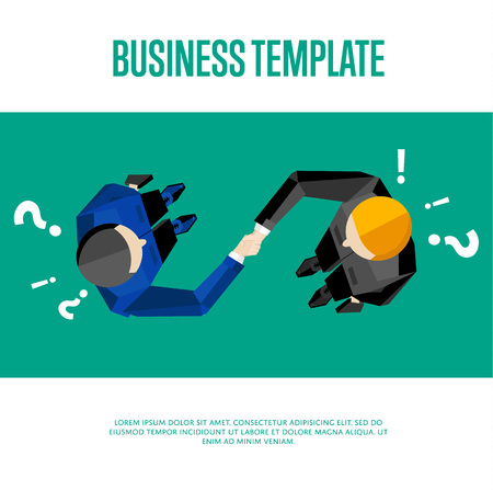 Business template with space for text, vector illustration. Top view of businessmen shaking hands on green background with question and exclamation marks. Business people meeting concept.