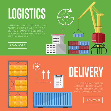 sea port: Sea port design concept set with container cargo and shipment flat design vector illustration. Cargo ship. Logistics and transportation infographic elements.