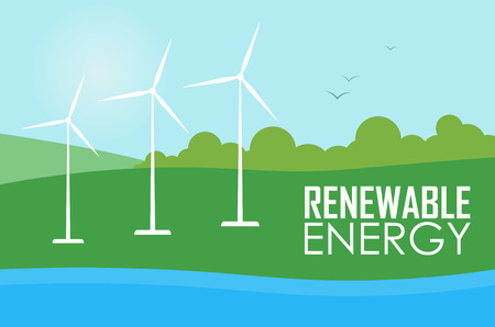 windfarm: Renewable energy vector illustration. Three white wind generator turbines on river bank. Green energy concept. Windmills for electric power production. Modern alternative generation.