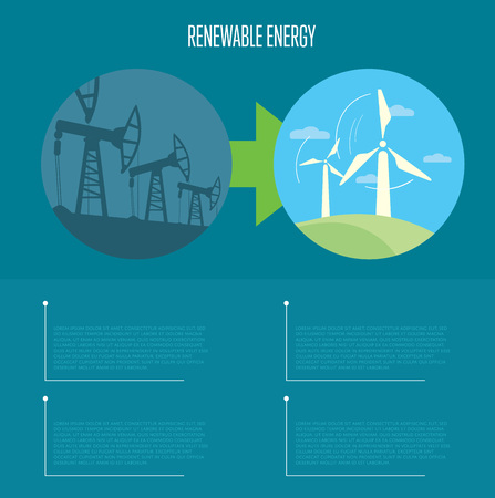 space industry: Vector illustration of evolution from industrial pollution to renewable energy. Wind turbines in green field. Oil industry equipment. Blue ecology infographics template with space for text.