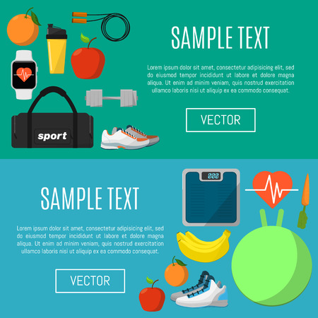 lifestyle outdoors: Fitness and healthy lifestyle horizontal banners, vector illustration set in flat style. Sports equipments and nutrition supplements on color background. Outdoors activity. Workout and gymnastics.