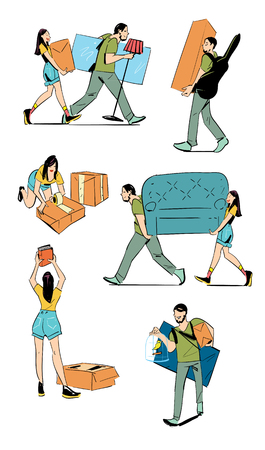 family moving house: Moving home concept vector illustration. Young couple making a move new home. Sketches on moving. Hand drawing. Illustration