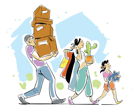 Family moving home concept vector illustration. People making a move a new home. Sketch on moving. Hand drawing. Illustration