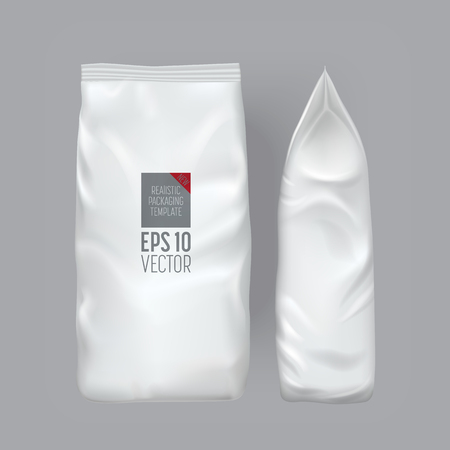 confezione vuota isolato su sfondo grigio. sacchetto della stagnola spuntino per il caffè, patatine. modello di pacchetto. Realistici mockup 3D. Template Pack plastica. Pronto per la progettazione. Illustrazione vettoriale.
