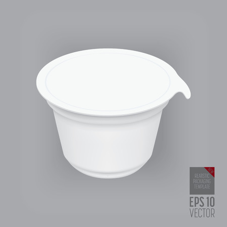 yogurt ice cream: Yogurt container isolated on grey background. Blank box ice cream or dessert. Plastic container for liquid milk products. 3d realistic packaging. Vector illustration.
