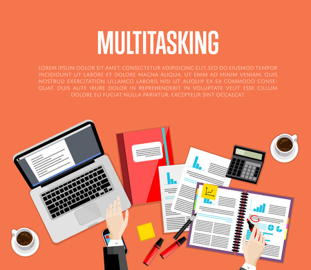 overhead: Business multitasking concept. Overhead view of businessman working with financial documents on red background. Busy life of company manager corporate executive. Office workplace banner