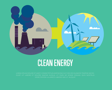 smokestack: Vector illustration of evolution from industrial pollution to clean energy. Greening of the world infographics. Traditional and alternative natural electricity resources. Development renewable energy