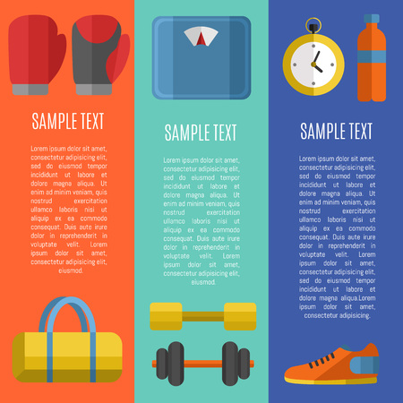 lifestyle outdoors: Fitness and healthy lifestyle vertical banners with space for text, vector illustration set in flat style. Sports equipments on color background. Outdoors activity. Workout and gymnastics.