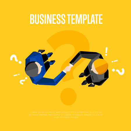 overhead view: Business template with space for text, vector illustration. Top view of businessmen shaking hands on yellow background with question and exclamation marks. Manager business meeting to employees.