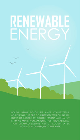 windmills: Renewable energy vector illustration. Three white wind generator turbines on natural background. Windmills for electric power production. Modern alternative energy generation. Wind power concept