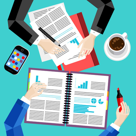 overhead view: Business office and workspace background, vector illustration. Business workplace with human hands, paperwork, smartphone, coffee cup and other objects, top view. Business people concept
