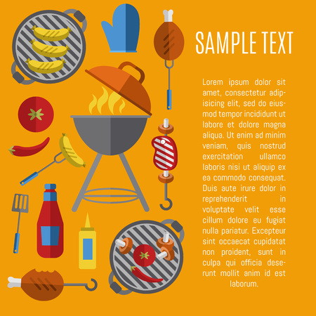 Vector illustration BBQ poster. Barbecue grill with fire, tools, meat and vegetables design elements on yellow background. Summer weekend picnic, backyard party banner in flat style