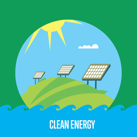 renewable resources: Clean energy vector illustration. Solar panels in field under the sun and blue sky. Ecological types of electricity. Natural landscape. Eco generation. Renewable resources concept.