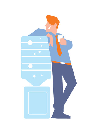 corporate culture: Business banner with smiling businessman in business suit and tie near water cooler, isolated vector illustration on white background. Business people. Office life. Corporate culture.